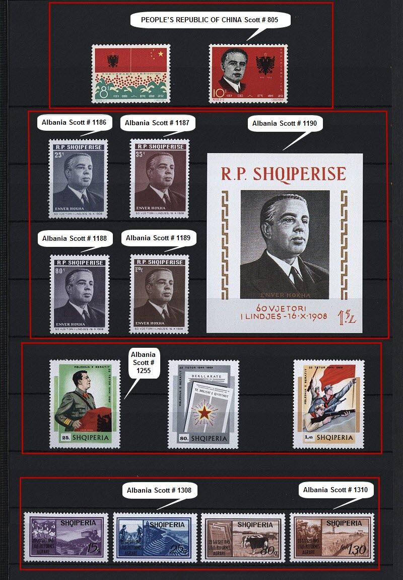 Энвер Ходжа на почтовых марках, выпущенных в Албании и других странах мира. Часть # 3.